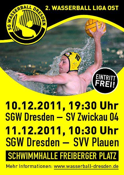 SG Wasserball Dresden - Plakat für die Spiele gegen Zwickau und Plauen.