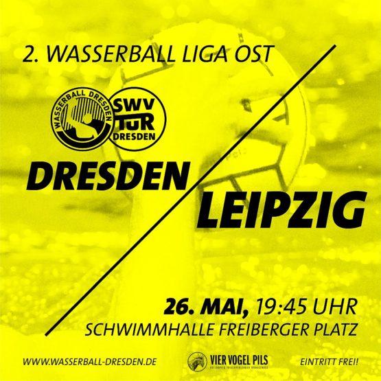 Plakat für das Wasserball-Spiel am 26. Mai in Dresden